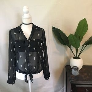 Vintage Havana Tops - ✝️ Sheer Black Button-Up Top With Crosses ✝️